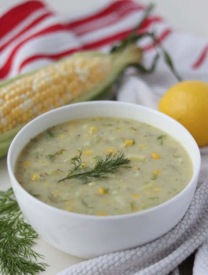 Lemony Sweet Corn Chowder Vegan