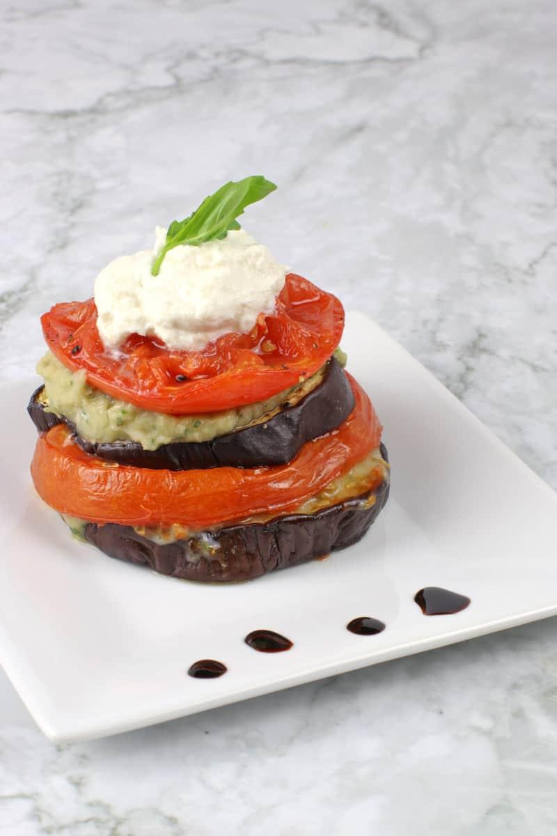 Roasted Eggplant Tomato Stacks