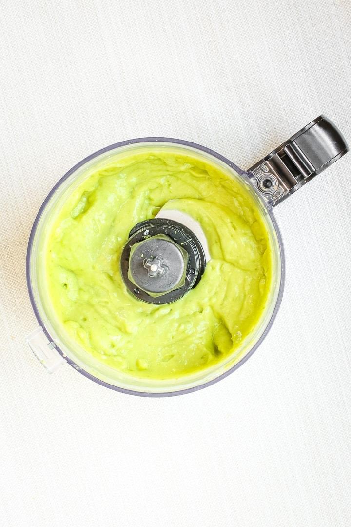 vegan key lime pie mini tart filling in a food processor.