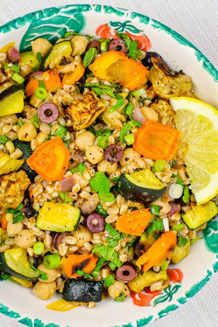 close up of Roast vegetable salad with eggplant, orange peppers zucchini, olives, red onions, sliced green onions, farro, pine nuts, and lemon slice in a leaf patterned bowl.