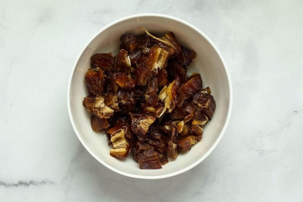 bowl of softened chopped dates