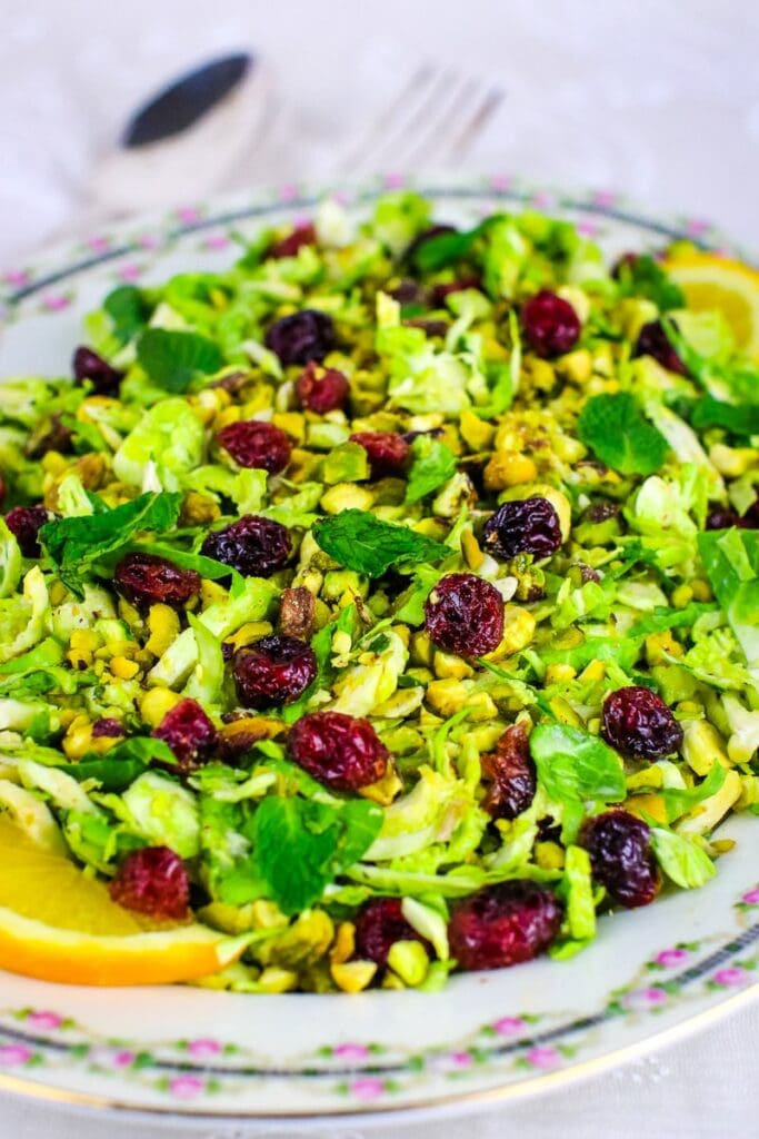 antique platter brussels sprouts salad with cranberries